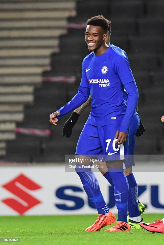 Callum Hudson-Odoi of Chelsea celebrates his goal (chelsea's third)during the Second Round Checkatrade Trophy Match between MK Dons and Chelsea FC at StadiumMK on December 6, 2017 in Milton Keynes, England.
