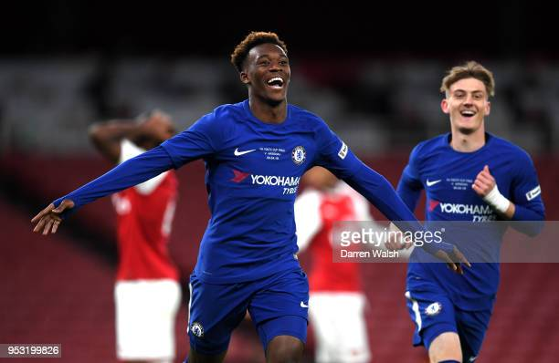 Callum HudsonOdoi of Chelsea celebrates his second goal Chelsea's fourth during the FA Youth Cup Final second leg between Chelsea and Arsenal at...