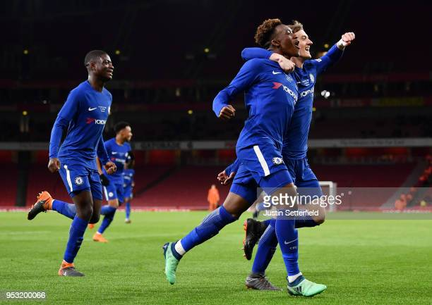 Callum HudsonOdoi of Chelsea celebrates his second goal Chelsea's fourth with team mates during the FA Youth Cup Final second leg between Chelsea and...