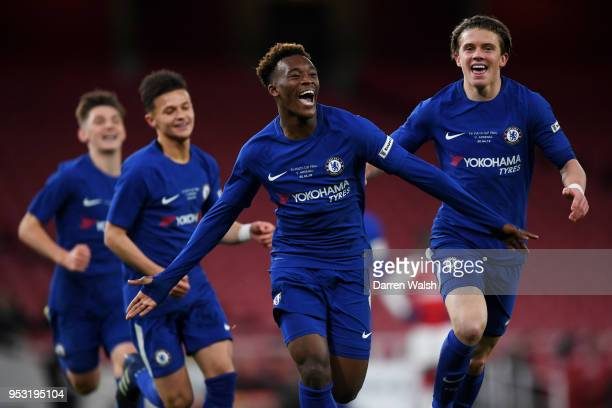 Callum HudsonOdoi of Chelsea celebrates scoring his side's second goal with team mates during the FA Youth Cup Final second leg between Chelsea and...