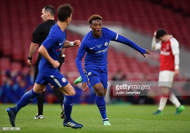 Callum HudsonOdoi of Chelsea celebrates scoring his side's second goal during the FA Youth Cup Final second leg between Chelsea and Arsenal at...