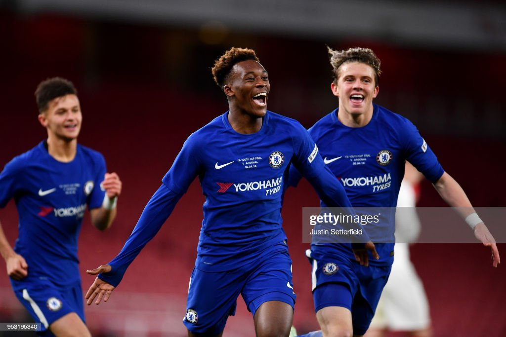 Callum Hudson-Odoi of Chelsea celebrates scoring his side's second goal with team mates during the FA Youth Cup Final second leg between Chelsea and Arsenal at Emirates Stadium on April 30, 2018 in London, England.