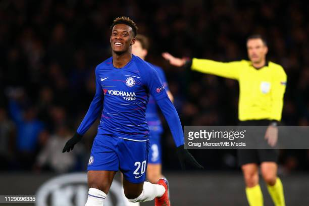 Callum HudsonOdoi of Chelsea celebrates scoring his side's third goal during the UEFA Europa League Round of 16 First Leg match between Chelsea and...