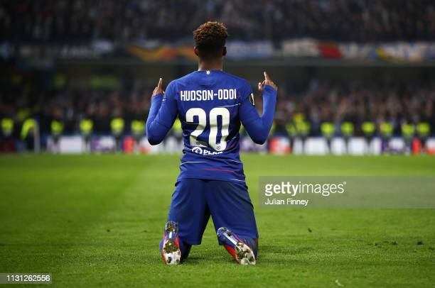 Callum HudsonOdoi of Chelsea celebrates scoring the third goal during the UEFA Europa League Round of 32 Second Leg match between Chelsea and Malmo...
