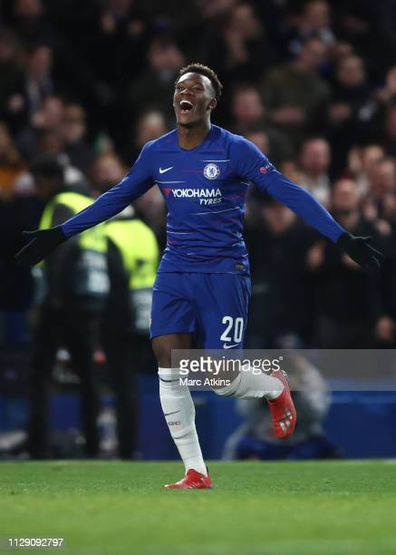 Callum HudsonOdoi of Chelsea celebrates scoring their 3rd goal during the UEFA Europa League Round of 16 First Leg match between Chelsea and Dynamo...