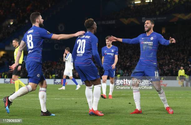 Callum HudsonOdoi of Chelsea celebrates scoring their 3rd goal with Ruben LoftusCheek of Chelsea during the UEFA Europa League Round of 16 First Leg...