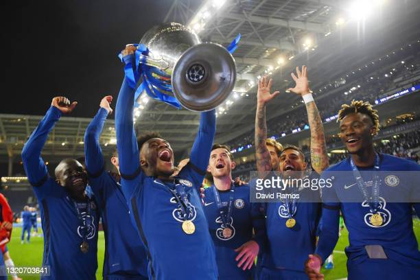Callum Hudson-Odoi of Chelsea celebrates with the Champions League Trophy following their team's victory during the UEFA Champions League Final...
