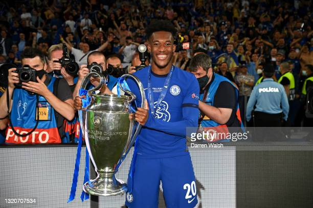 Callum Hudson-Odoi of Chelsea celebrates with the Champions League Trophy during the UEFA Champions League Final between Manchester City and Chelsea...