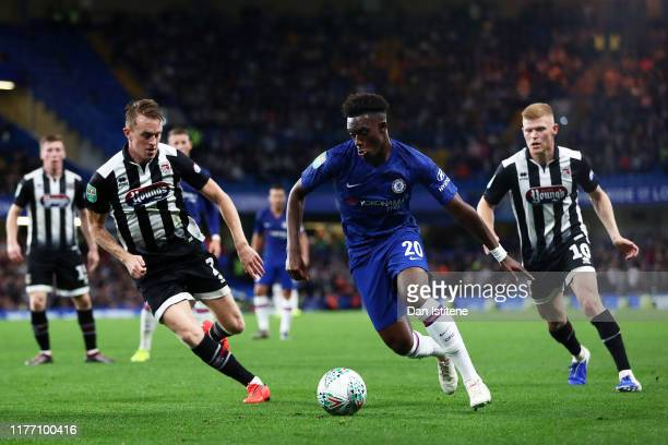 Callum Hudson-Odoi of Chelsea controls the ball during the Carabao Cup Third Round match between Chelsea FC and Grimsby Town at Stamford Bridge on...