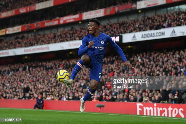 Callum HudsonOdoi of Chelsea controls the ball during the Premier League match between Arsenal FC and Chelsea FC at Emirates Stadium on December 29...