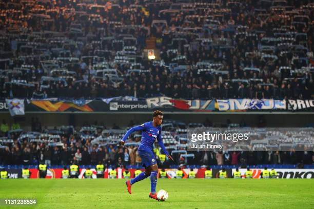 Callum HudsonOdoi of Chelsea controls the ball during the UEFA Europa League Round of 32 Second Leg match between Chelsea and Malmo FF at Stamford...