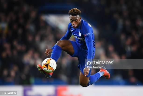 Callum HudsonOdoi of Chelsea controls the ball in the air during the UEFA Europa League Round of 32 Second Leg match between Chelsea and Malmo FF at...