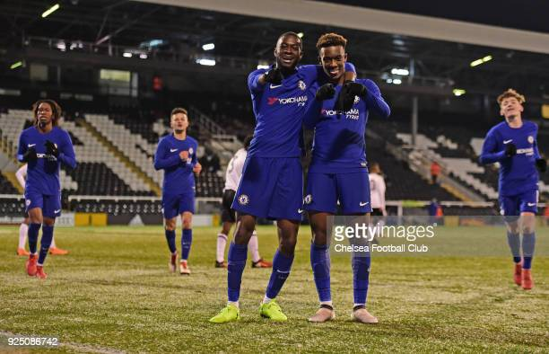 Callum HudsonOdoi of Chelsea crosses for Martell TaylorCrossdale celebrate Martell's second goal during the FA Youth Cup quarter final match between...