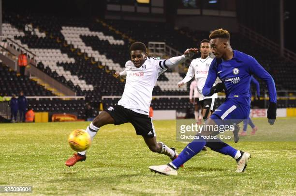 Callum HudsonOdoi of Chelsea crosses for Martell TaylorCrossdale to score during the FA Youth Cup quarter final match between Fulham and Chelsea at...