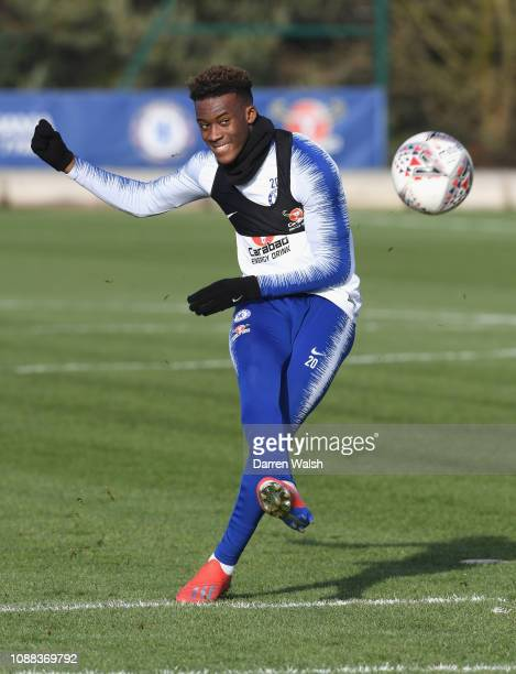 Callum HudsonOdoi of Chelsea during a training session at Chelsea Training Ground on January 25 2019 in Cobham England