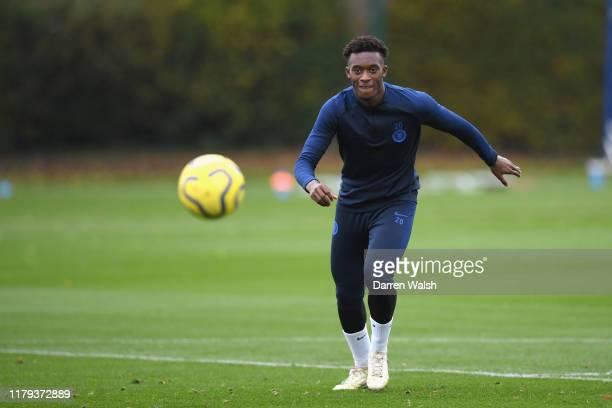 Callum HudsonOdoi of Chelsea during a training session at Chelsea Training Ground on November 1 2019 in Cobham England