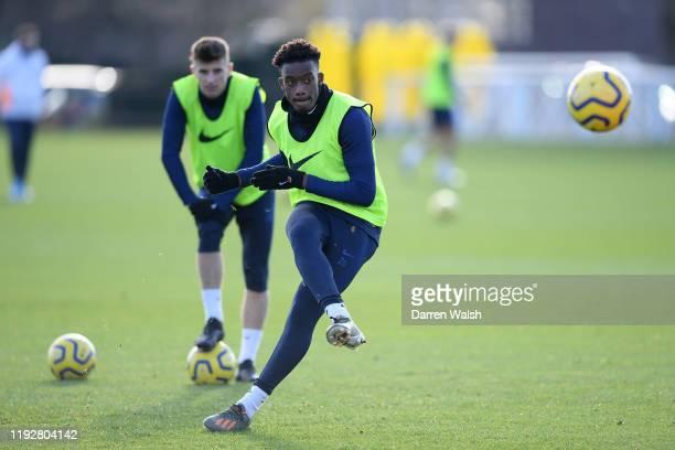 Callum HudsonOdoi of Chelsea during a training session at Chelsea Training Ground on January 10 2020 in Cobham United Kingdom