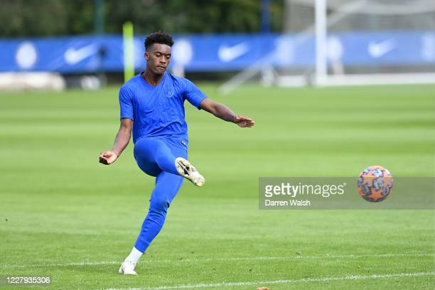 Callum HudsonOdoi of Chelsea during a training session at Chelsea Training Ground on August 6 2020 in Cobham England