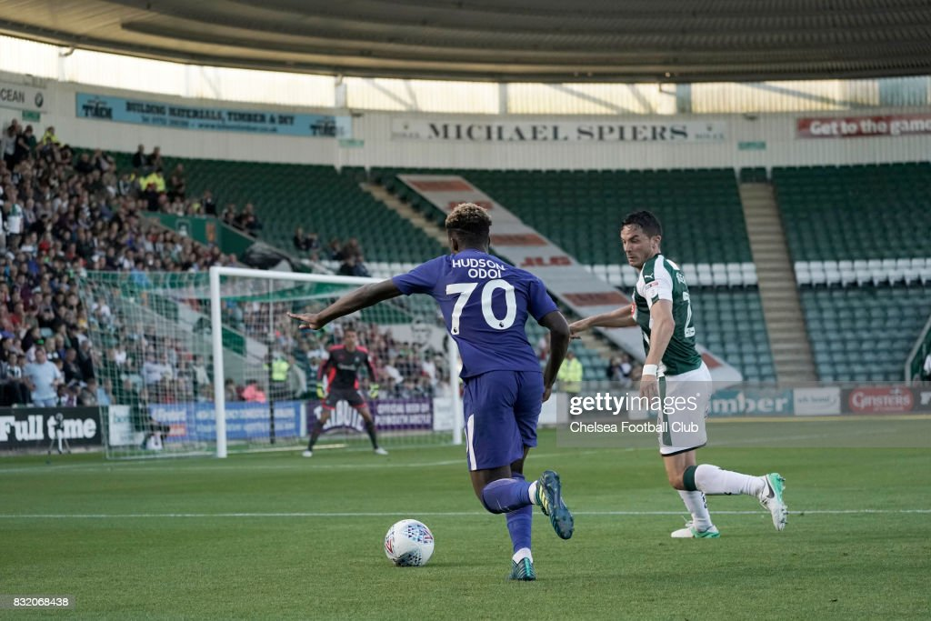 Callum Hudson-Odoi of Chelsea during the Checkatrade Trophy match at Home Park on August 15, 2017 in Plymouth, England.