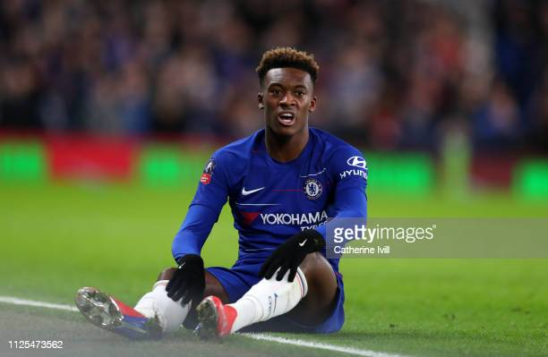 Callum HudsonOdoi of Chelsea during the FA Cup Fourth Round match between Chelsea and Sheffield Wednesday at Stamford Bridge on January 27 2019 in...