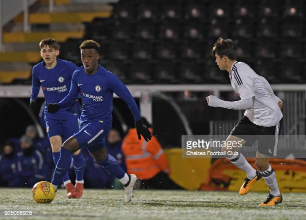 Callum HudsonOdoi of Chelsea during the FA Youth Cup quarter final match between Fulham and Chelsea at Craven Cottage Fulham on February 27 2018 in...