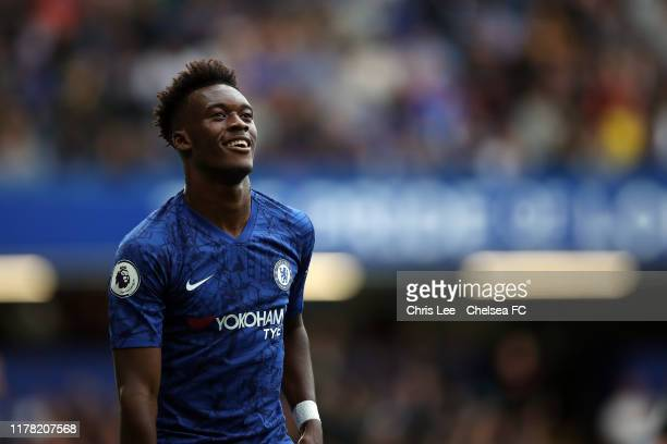 Callum HudsonOdoi of Chelsea during the Premier League match between Chelsea FC and Brighton Hove Albion at Stamford Bridge on September 28 2019 in...