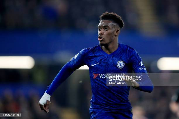 Callum HudsonOdoi of Chelsea during the Premier League match between Chelsea FC and Arsenal FC at Stamford Bridge on January 21 2020 in London United...