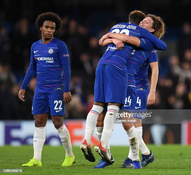 Callum HudsonOdoi of Chelsea embraces Ethan Ampadu of Chelsea after the UEFA Europa League Group L match between Chelsea and PAOK at Stamford Bridge...