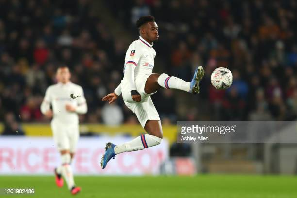 Callum HudsonOdoi of Chelsea FC controls the ball during the FA Cup Fourth Round match between Hull City and Chelsea at KCOM Stadium on January 25...