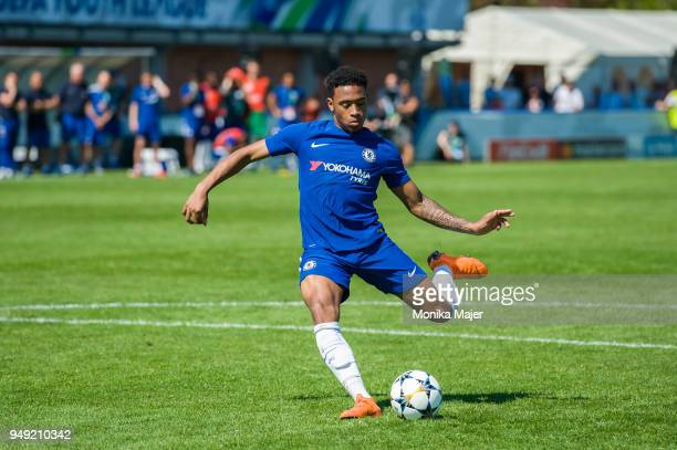 Callum HudsonOdoi of Chelsea FC in action during the semifinal football match between Chelsea FC and FC Porto of UEFA Youth League at Colovray Sports...