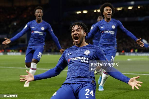 Callum HudsonOdoi of Chelsea FC Reece James of Chelsea FC Willian of Chelsea FC during the UEFA Champions League group H match between Chelsea FC and...