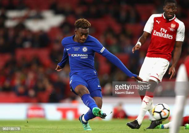 Callum Hudsonodoi of Chelsea FC scores his sides second goal during the FA Youth Cup Final second leg match between Arsenal and Chelsea at Emirates...