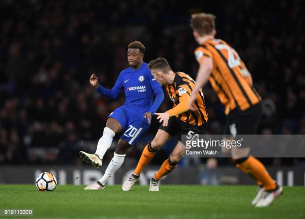 Callum HudsonOdoi of Chelsea gets to the ball ahead of Angus MacDonald of Hull City during the Emirates FA Cup Fifth Round match between Chelsea and...