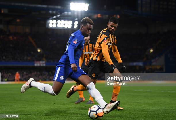 Callum HudsonOdoi of Chelsea gets to the ball ahead of Fraizer Campbell of Hull City during the Emirates FA Cup Fifth Round match between Chelsea and...