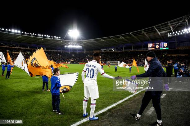 Callum HudsonOdoi of Chelsea has a drink during the Emirates FA Cup Fourth Round match between Hull City and Chelsea at KCOM Stadium on January 25...