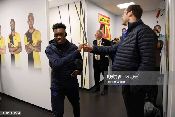 Callum HudsonOdoi of Chelsea high fives Petr Cech as he arrives at the stadium prior to the Premier League match between Watford FC and Chelsea FC at...