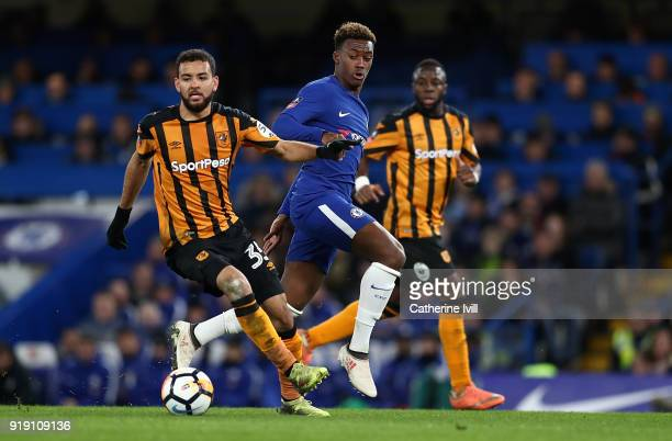 Callum HudsonOdoi of Chelsea holds off pressure from Kevin Stewart of Hull during The Emirates FA Cup Fifth Round match between Chelsea and Hull City...