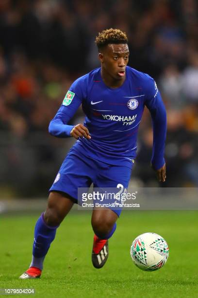 Callum HudsonOdoi of Chelsea in action during the Carabao Cup Semi Final First Leg between Tottenham Hotspur and Chelsea at Wembley Stadium on...