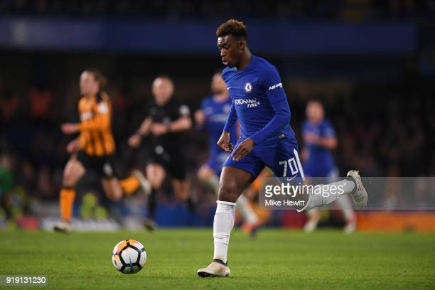 Callum HudsonOdoi of Chelsea in action during The Emirates FA Cup Fifth Round match between Chelsea and Hull City at Stamford Bridge on February 16...
