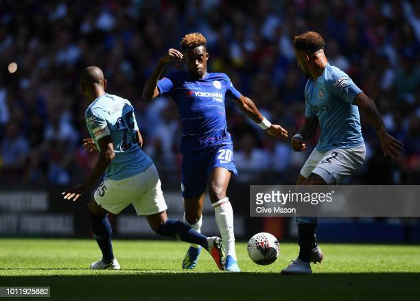 Callum HudsonOdoi of Chelsea in action during the FA Community Shield match between Manchester City and Chelsea at Wembley Stadium on August 5 2018...