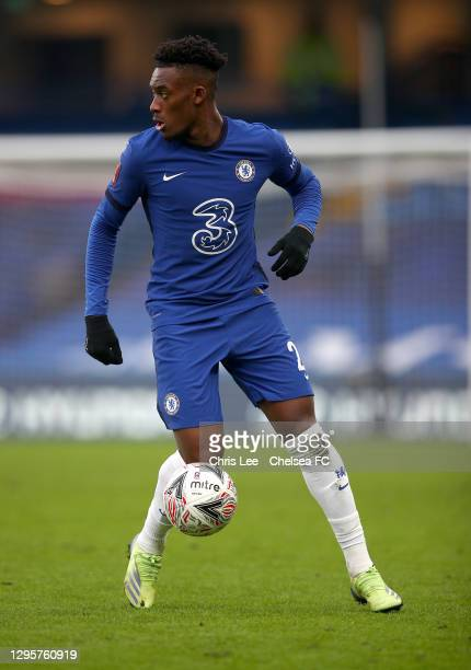 Callum Hudson-Odoi of Chelsea in action during the FA Cup Third Round match between Chelsea and Morecambe at Stamford Bridge on January 10, 2021 in...