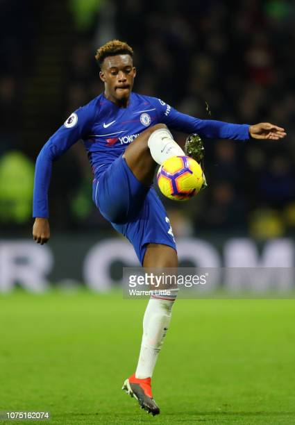 Callum HudsonOdoi of Chelsea in action during the Premier League match between Watford FC and Chelsea FC at Vicarage Road on December 26 2018 in...