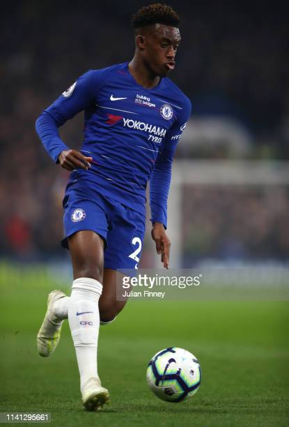 Callum HudsonOdoi of Chelsea in action during the Premier League match between Chelsea FC and West Ham United at Stamford Bridge on April 08 2019 in...