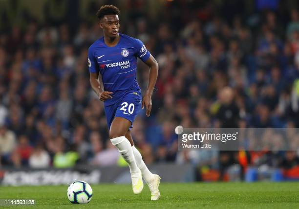 Callum HudsonOdoi of Chelsea in action during the Premier League match between Chelsea FC and Burnley FC at Stamford Bridge on April 22 2019 in...