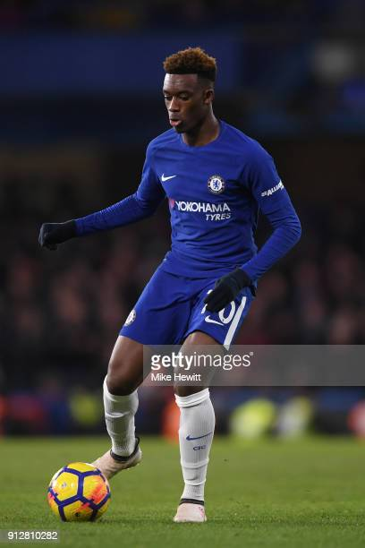 Callum HudsonOdoi of Chelsea in action during the Premier League match between Chelsea and AFC Bournemouth at Stamford Bridge on January 31 2018 in...
