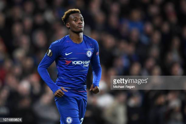 Callum HudsonOdoi of Chelsea in action during the UEFA Europa League Group L match between Chelsea and PAOK at Stamford Bridge on November 29 2018 in...
