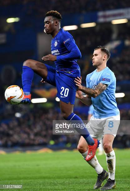 Callum HudsonOdoi of Chelsea in action during the UEFA Europa League Round of 32 Second Leg match between Chelsea and Malmo FF at Stamford Bridge on...