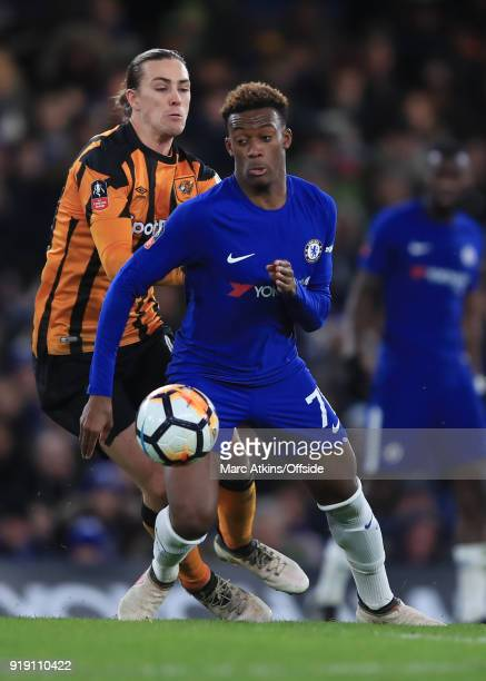 Callum HudsonOdoi of Chelsea in action with Jackson Irvine of Hull City during the FA Cup 5th Round match between Chelsea and Hull City at Stamford...