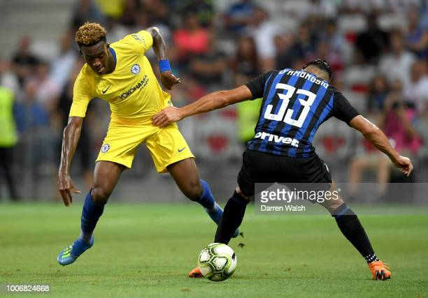 Callum HudsonOdoi of Chelsea is challenged by Danilo D'Ambrosio of FC Internazionale during the International Champions Cup 2018 match between...