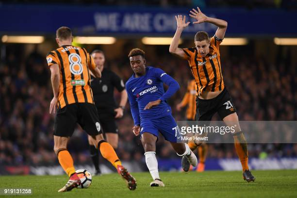Callum HudsonOdoi of Chelsea is challenged by David Meyler and Michael Dawson of Hull City during The Emirates FA Cup Fifth Round match between...